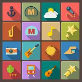 Set Of Sixteen Entertainment Icons In Flat Design Style