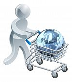 Person Pushing Trolley With Globe