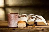 image of prayer beads  - still life with bible and prayer beads