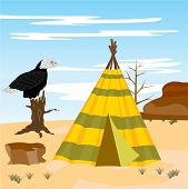 picture of wigwams  - Illustration vein  iindian  wild desert and eagle - JPG