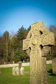 picture of headstones  - Celtic headstone in a church burial ground  - JPG