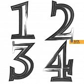 art sketched set of vector grunge character classic black fonts, uppercase symbols, figures 1, 2. 3.