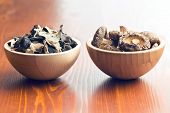 picture of judas  - jelly ear and shiitake mushrooms in wooden bowls - JPG