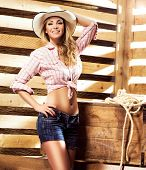 Beautiful, young and sexy cowgirl over western background
