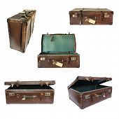 Vintage suitcase collage on white.  Open, closed, front and side views.