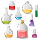 Colorful flasks icons over white background