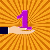 hand with number one background