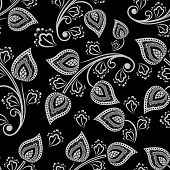 Seamless black and white floral vector wallpaper pattern.