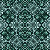 Seamless vintage green floral wallpaper vector pattern.