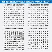 400 business, travel, media, website, internet, holidays, health, party, office, documents isolated icons, signs, symbols, illustrations, silhouettes set, vector