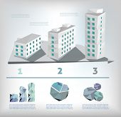 Polygon buildings infographic concept and charts vector illustration