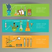 Banners with Chemistry laboratory infographic flat elements vector illustration.