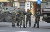 KIEV, UKRAINE - AUG 24, 2014.Ukrainian army during President Poroshenko Victory parade in downtown.