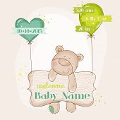 Baby Bear with Balloons - Baby Shower or Baby Arrival Cards - in vector