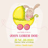 Baby Girl Arrival Card - with Baby Bunny in Carriage - in vector