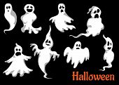 image of funny ghost  - Night halloween ghosts set isolated on black background for fear and scary holiday design - JPG