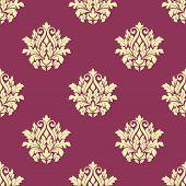 Floral yellow damask seamless patternon