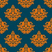 Floral seamless pattern with orange on indigo
