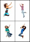Four young people jumping isolated on white background