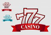 picture of number 7  - Casino gambling symbol or logo with three seven number - JPG