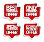Weekend offer speech bubbles stickers set.