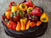 home grown sweet peppers in plastic bag