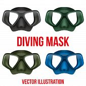 Set of Underwater diving scuba mask. Vector