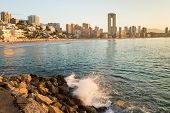 pic of costa blanca  - Sunny early morning on Benidorm resort Costa Blanca Spain - JPG