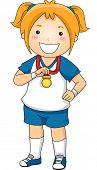 Illustration of a Little Girl Showing Her Sports Medal