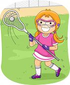 Illustration of a Girl Playing Lacrosse