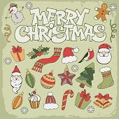 Merry Christmas icon set in doodle style
