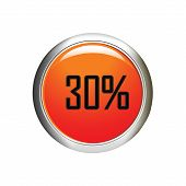 Internet Button. 30 Percent Discount Icon On White Background.