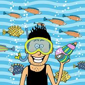 swimmer wearing snorkel with seashell