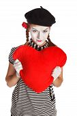 image of clown rose  - Portrait of a mime valentine day concept - JPG