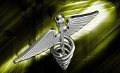 pic of sceptre  - digital illustration of 3d medical icon on a colour background - JPG