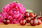 Pink peony with cherries