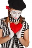 pic of clown rose  - Portrait of a mime valentine day concept - JPG