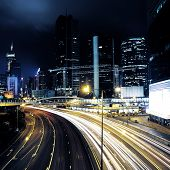 image of nightie  - traffic in Hong Kong at nightIs of city - JPG
