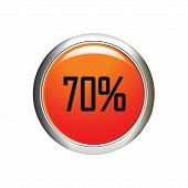 Internet Button. 70 Percent Discount Icon On White Background.
