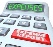 Expense Reports words on a calculator display adding your receipts and costs for business meals, tra
