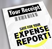picture of receipt  - Your Receipt words and Save for Expense Report on paper document for filing for reimbursement - JPG