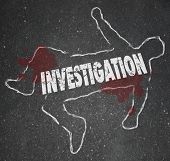 Investigation word in a chalk outline of a dead body or murder victim in a crime scene worked on by police officers