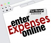 Website screen with words Enter Expenses Online for adding receipts and submitting for payment reimb