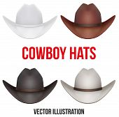 Set of cowboy hats. Vector Illustration Isolated on white background.