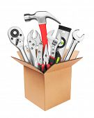 Many Tools in box, isolated on white background