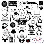 Hipster style infographics elements and icons set for retro design. With bicycle, phone, sunglasses,