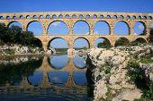 Ancient aquaduct Pont du Gard in South France