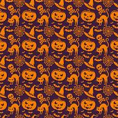 Halloween Seamless Pattern. Vector Background.
