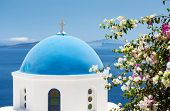 Church With Blue Cupola In Santorini, Greece