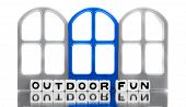 Outdoor Fun Message With Blue Door
